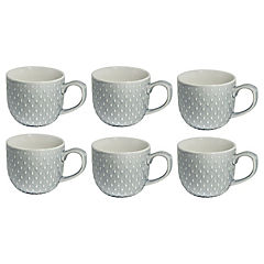 Set 6 mugs textura 260 cc  gris