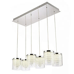 Lámpara colgante cristal cromada 36w led integrado