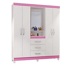 Closet 188x161 cm rosa 4 puertas + 3 cajones