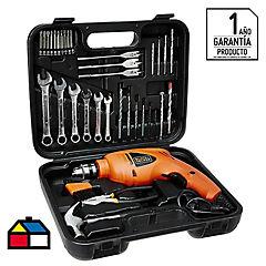 Taladro percutor eléctrico 10 mm 550 W + 40 accesorios