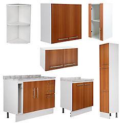 Proyecto Muebles de Cocina Canela, 7 Módulos, Ancho Total 225 cm.