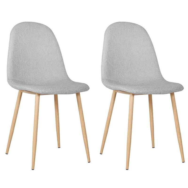LESSOX - Set de 2 sillas gris tapizado tela 52x44x87 cm