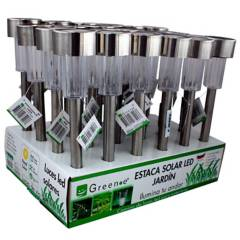 GREEN-E - Set 24 estaca solares LED aluminio