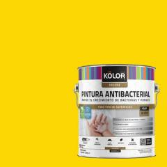 KOLOR - Esmalte al agua antibacterial satinado amarillo guspini 1 gl