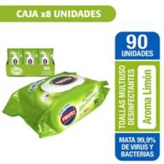 VIRUTEX - Caja con 8 paquetes toallas desinfectantes limón 90 unidades