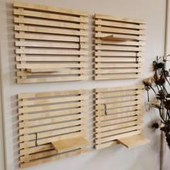 undefined - Set Decorativo 4 Palmetas de Enrejado de Madera