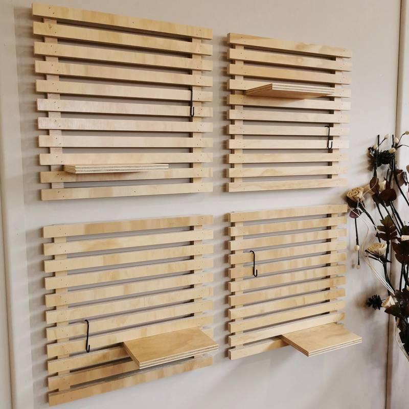 - Set Decorativo 4 Palmetas de Enrejado de Madera