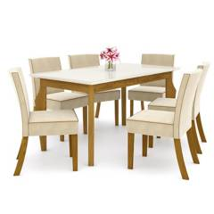 CASA BONITA - Comedor 6 sillas lino 160x90x81 cm