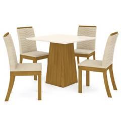 CASA BONITA - Set de comedor 1 mesa + 4 sillas lino