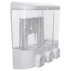 Dispensador triple de jabón líquido 18,5x19x8 cm plástico