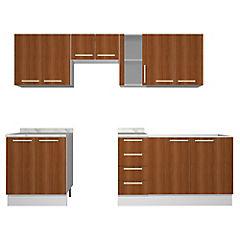 Combo mueble de cocina 11 puertas 4 cajones Canela