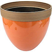 Maceta plástico glaseado naranja 36x33 cm