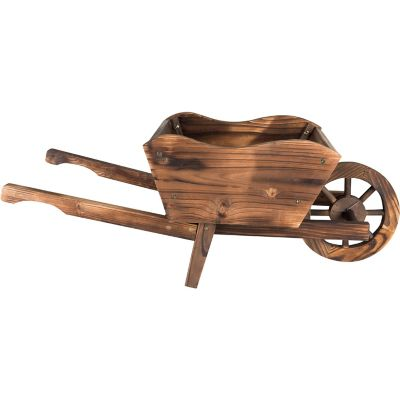 Carretilla decorativa de madera para jardín