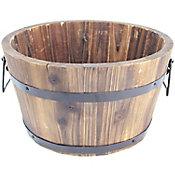 Maceta de madera, tipo barril, varias medidas