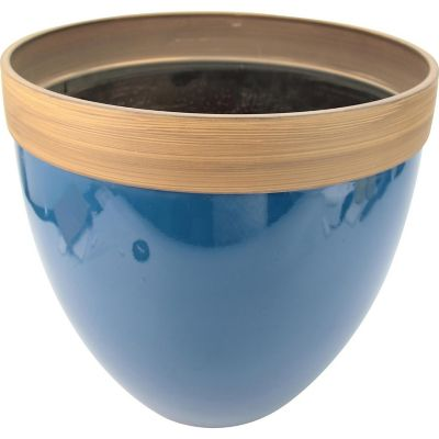 Maceta plástico glaseado azul 36x33 cm