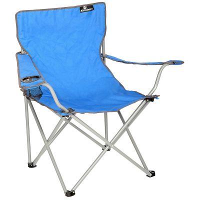 Silla camping azul con apoya brazos