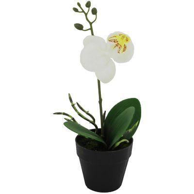 Orquídea blanca artificial 15 x 11 x 25 cm