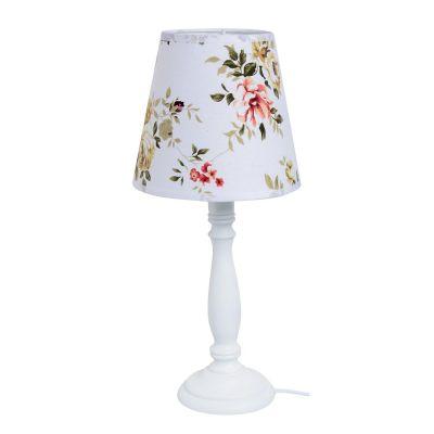 Lámpara buró flores blanco E27 metal 40cm