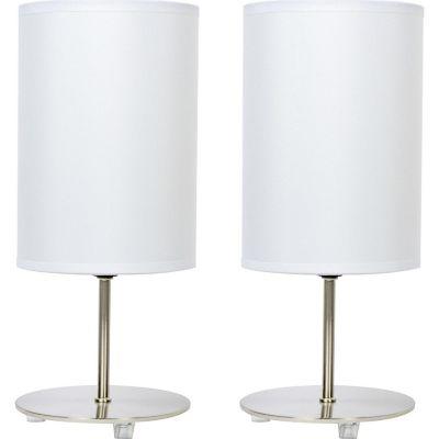 Lámpara buró Niza blanco E27 metal X2 35cm