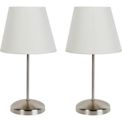 Lámpara buró Lyon blanco E27 metal X2 30cm
