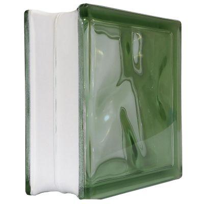 Bloque vidrio cloudy green 19 cm x 19 cm x 8 cm