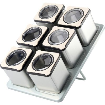 Set de especieros c/imán de metal cúbicos