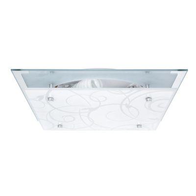 Plafón 60W Ramas plata 2luces E27 vidrio 30cm