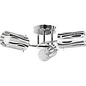 Lámpara techo 60W Curvas plata 3luces E27 metal 25cm