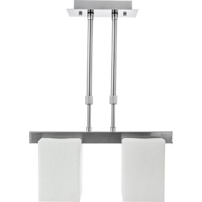 Lámpara colgante 60W cubo plata 2luces E27 metal
