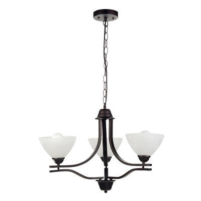 Lámpara colgante 60W fierro cobre 3luces E27 metal 45cm