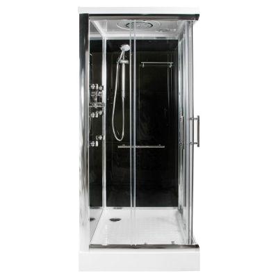 Cabina rectangular de regadera negra