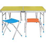 Mesa plegable camping con bancos de colores