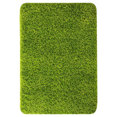Pie de cama shaggy verde 60x90 cm