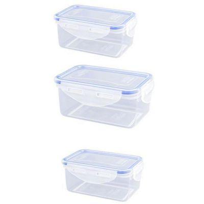 Set de contendores de clip 3 piezas 500 ml plástico