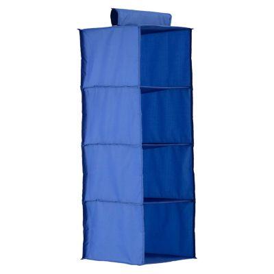 Organizador de tela azul con 4 repisas  30 x 30 x 84 cm