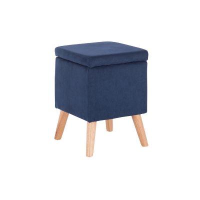 Taburete con almacenamiento azul