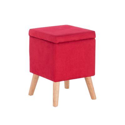 Taburete con almacenamiento rojo