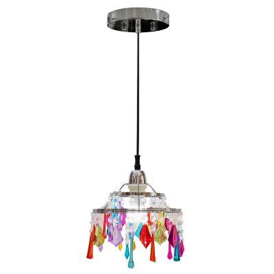 Lámpara colgante 60W Vicenza rosa cromo 1luz E27 vidrio 180cm