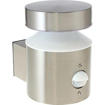 Arbotante exterior Atenas led sensor 6W plata neutra 600lm metal 12cm