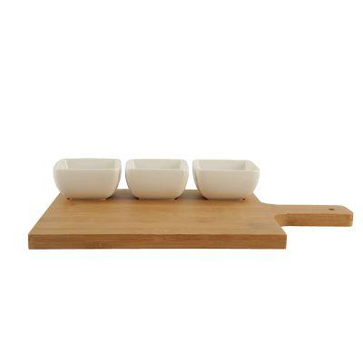Set de botaneros c/tabla de bambú 3 piezas