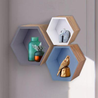 Set de 3 repisas hexagonales blanca, gris y azul