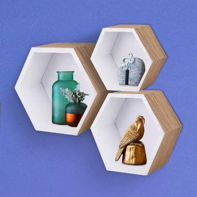 Set de 3 repisas hexagonales blancas