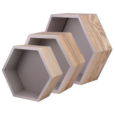 Set de 3 repisas hexagonales naturales