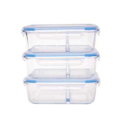 Set 3 contenedores vidrio rectangular 2div 1.05 Lt