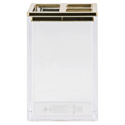Portacepillo Clarity transparente/dorado de acrílico