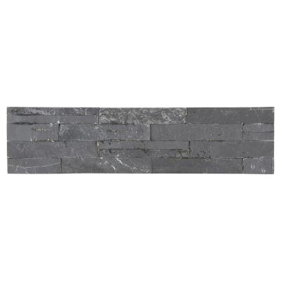 Piso cerámico piedra mosaico negro 60x15 cm