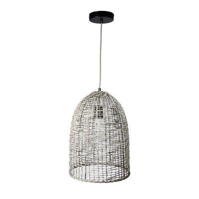 Lámpara colgante 40W Cotija Gris 1luz E27 ratan 30cm