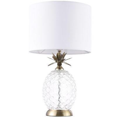 Lámpara mesa 40W Piña transparente 1luz E27 vidrio 30cm