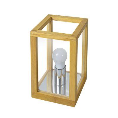 Lámpara mesa 40W Xico natural 1luz E27 trend madera 15cm
