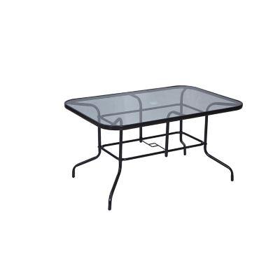 Mesa rectangular con vidrio 140 x 90 cm negra